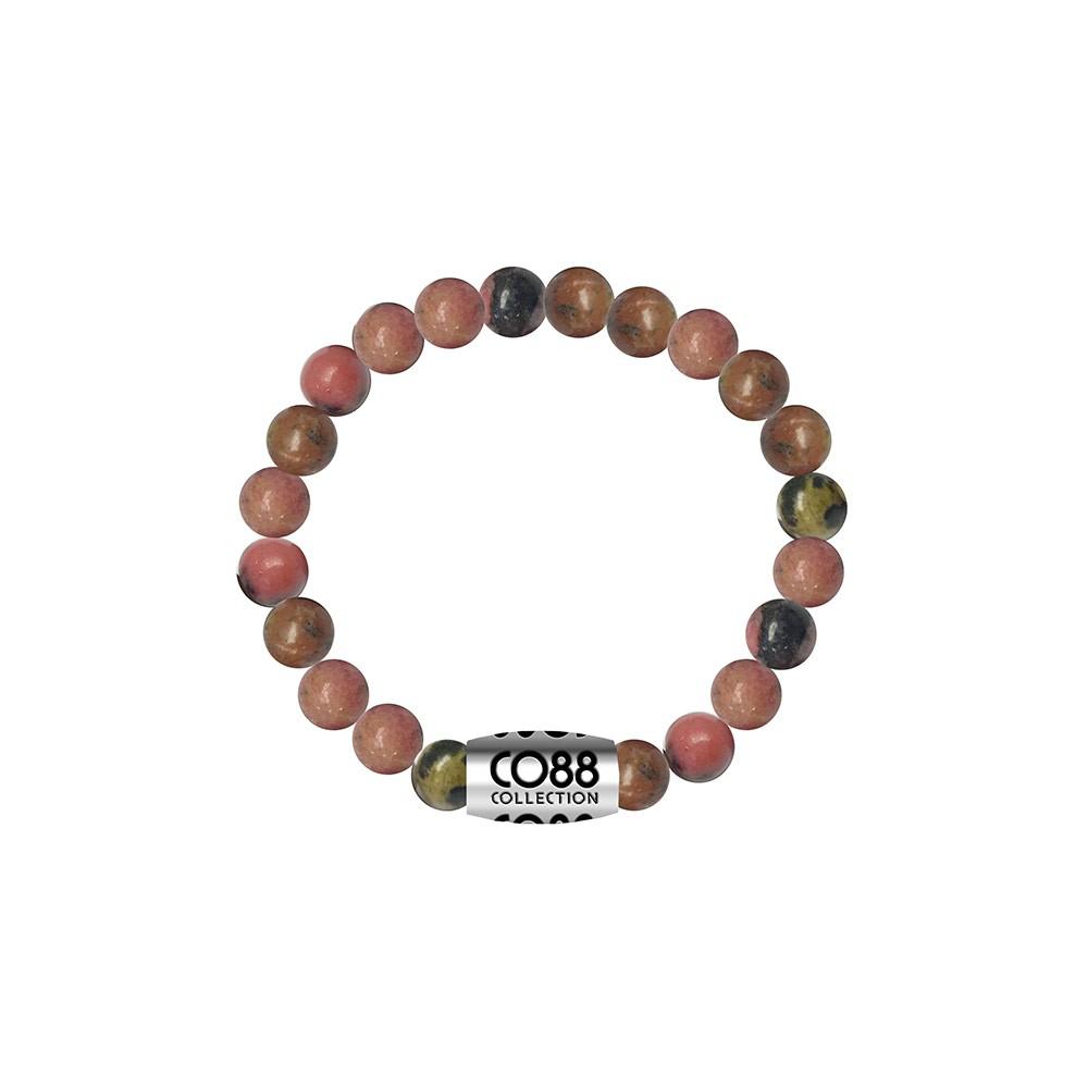 CO88 Collection 8CB-17017 - Armband met bead - Rhodonite natuursteen 6 mm - lengte 16 cm - roze