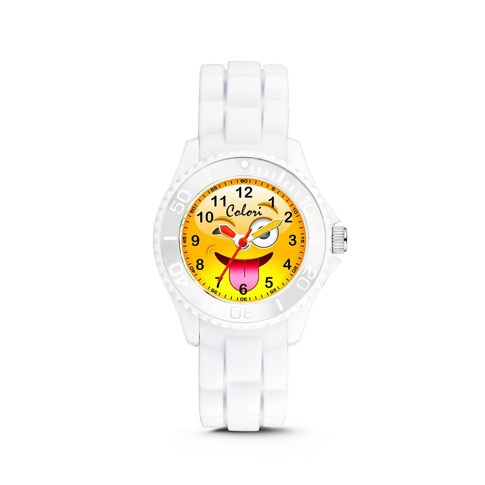 Colori Happy Smile 5-CLK078 - Kinderhorloge - siliconen band - wit - 30 mm