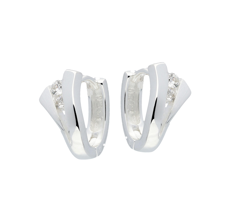 Zilveren klapcreolen - zirkonia  107.5508.00