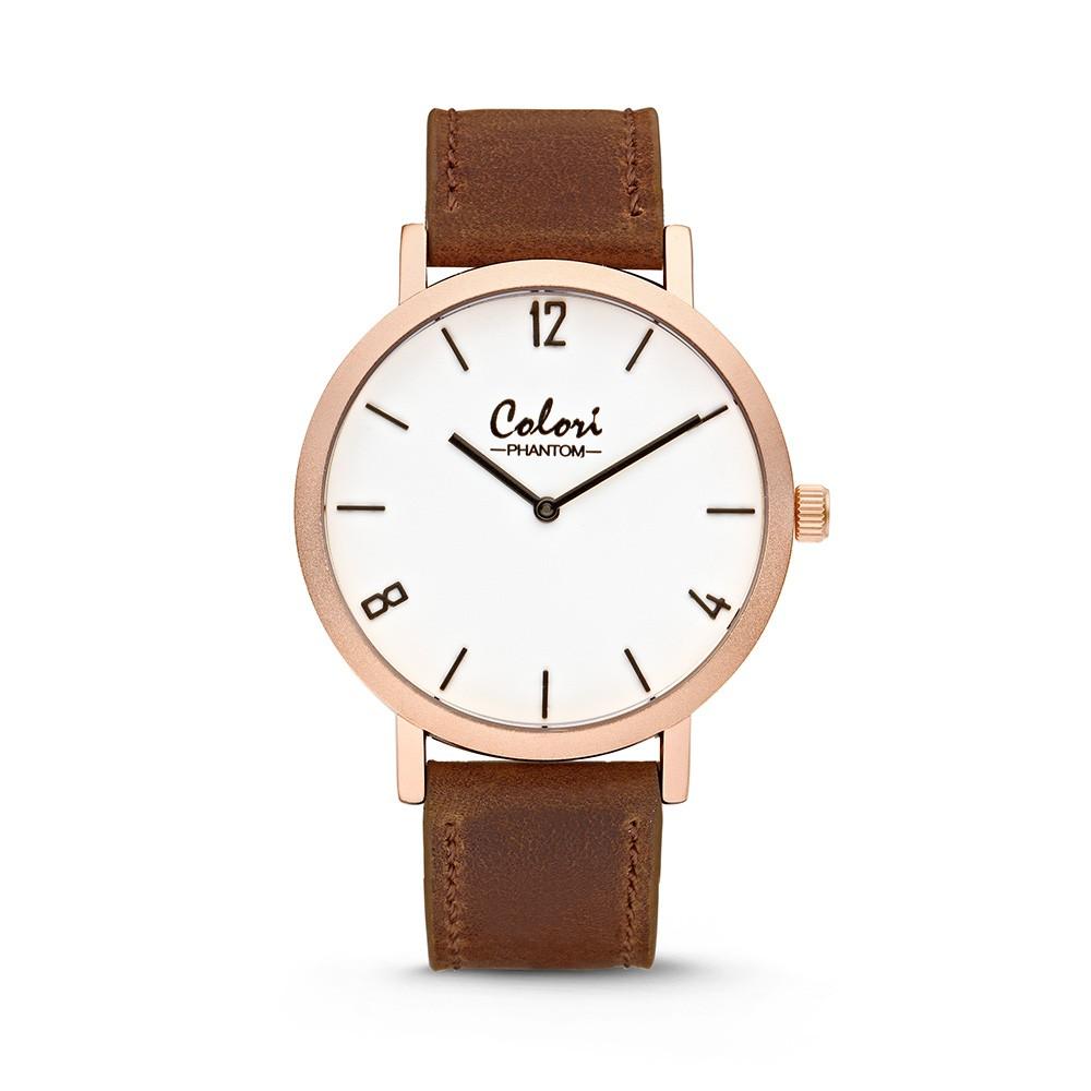 Colori - Phantom - 5-COL437 - Horloge - leren band - bruin - 42 mm