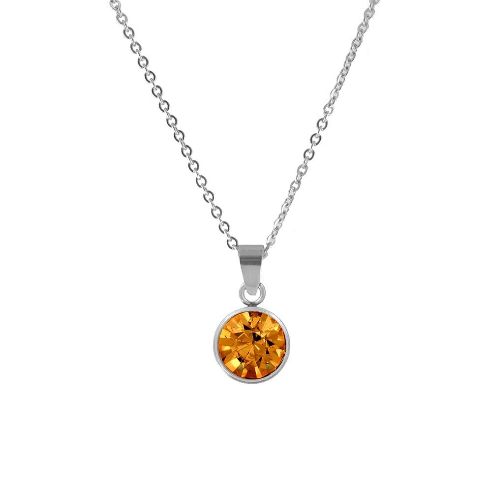 CO88 Collection 8CN-10022 - Stalen collier met geboortesteen november | topaas 10 mm - lengte 42 + 5 cm - oranje / zilverkleurig