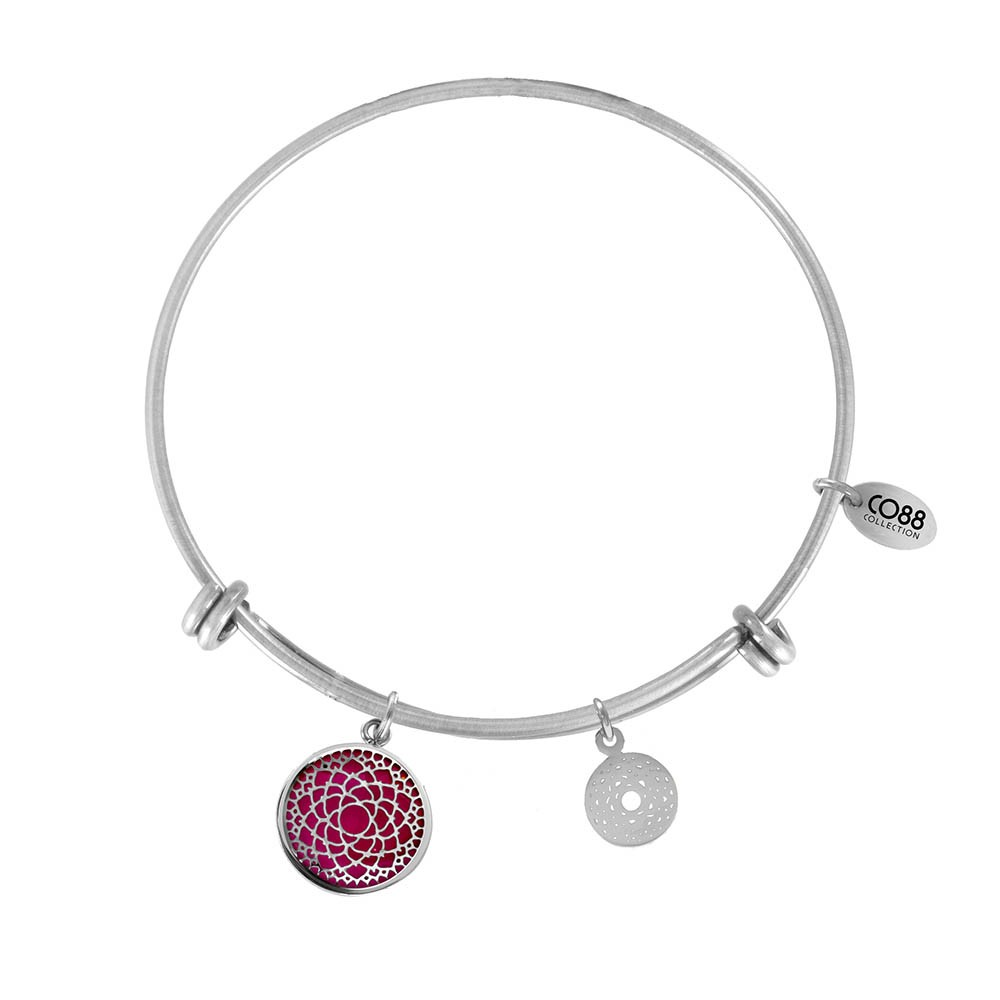 CO88 Collection 8CB-26007 - Stalen bangle met bedels - glazen crown chakra - one-size - zilverkleurig / roze