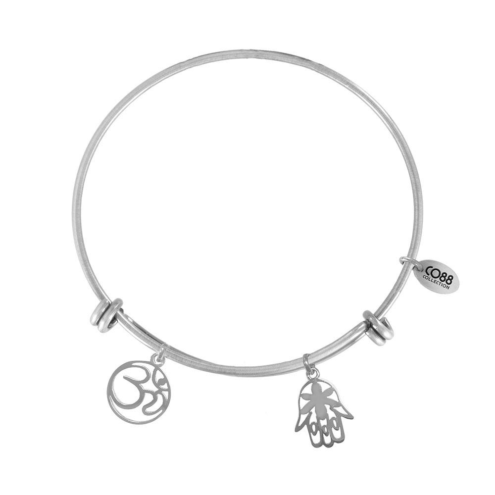 CO88 Collection 8CB-21001 - Stalen bangle met bedels - Fatima's hand en Ohm symbool - one-size - zilverkleurig