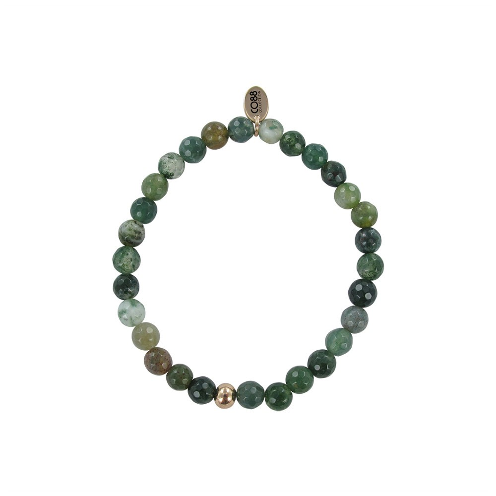 CO88 Collection 8CB-17010 - Armband met tag - rond staal en agaat natuursteen 6 mm - one-size - groen