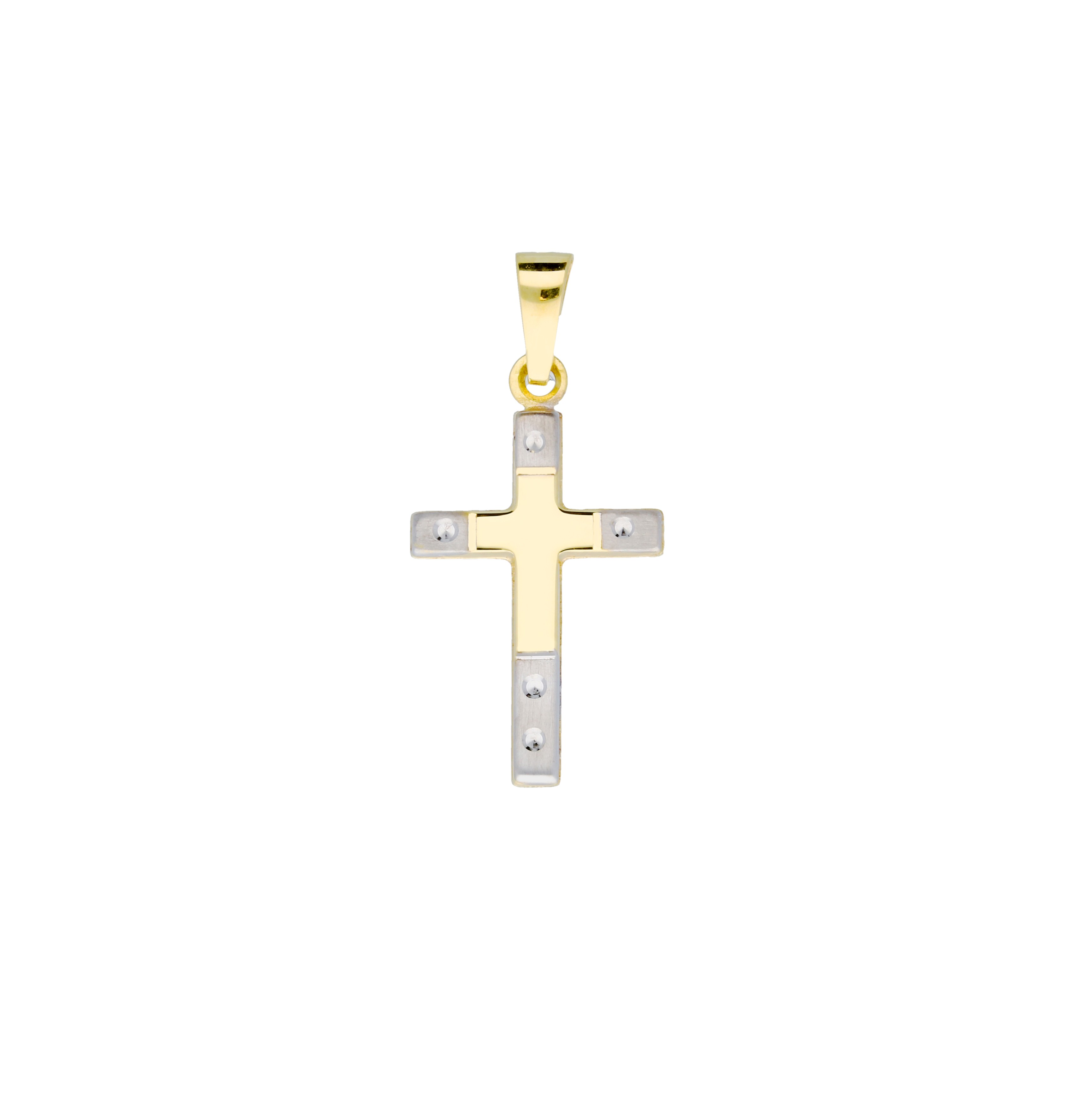 Religious Gouden Kruisje - 12 X 21 Mm Bicolor Mat Glanzend 246.0118.00