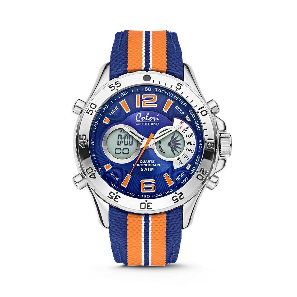 Colori Holland Sports 5-CLD133 - Horloge - nylon band - oranje/blauw - 48 mm