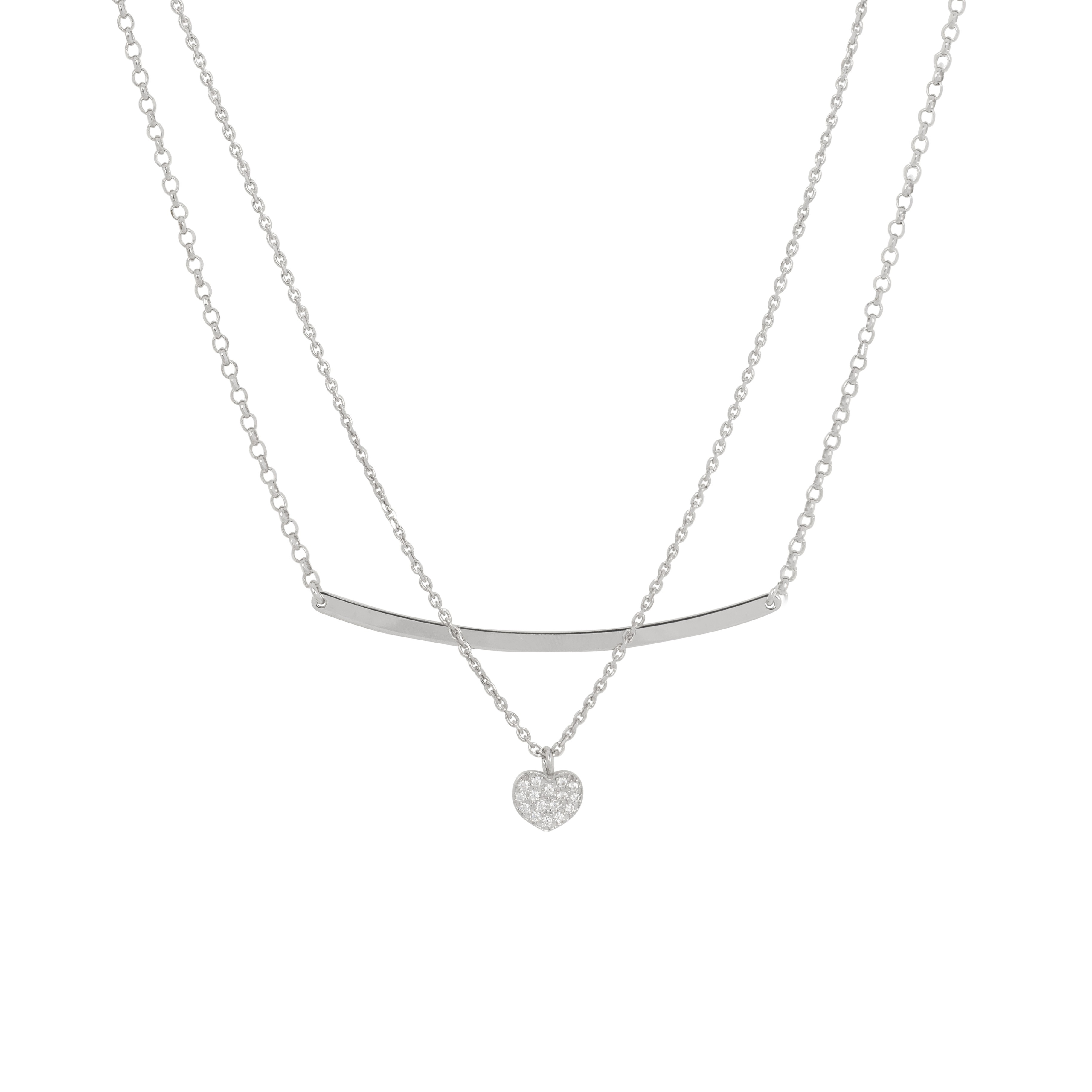 Lovenotes Zilveren Ketting Hart/Staaf multi-layer 43-48 cm 102.0567.48