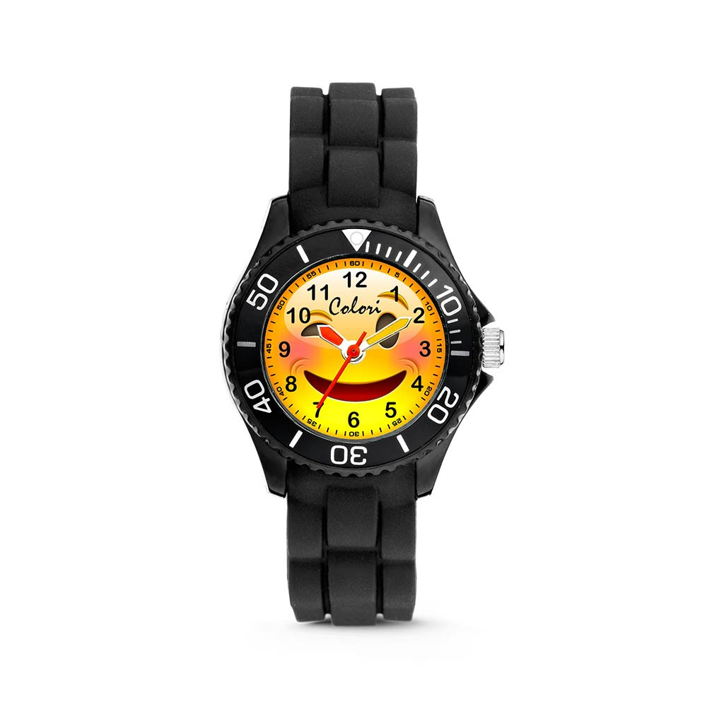 Colori Happy Smile 5-CLK069 - Kinderhorloge - siliconen band - zwart - 30 mm