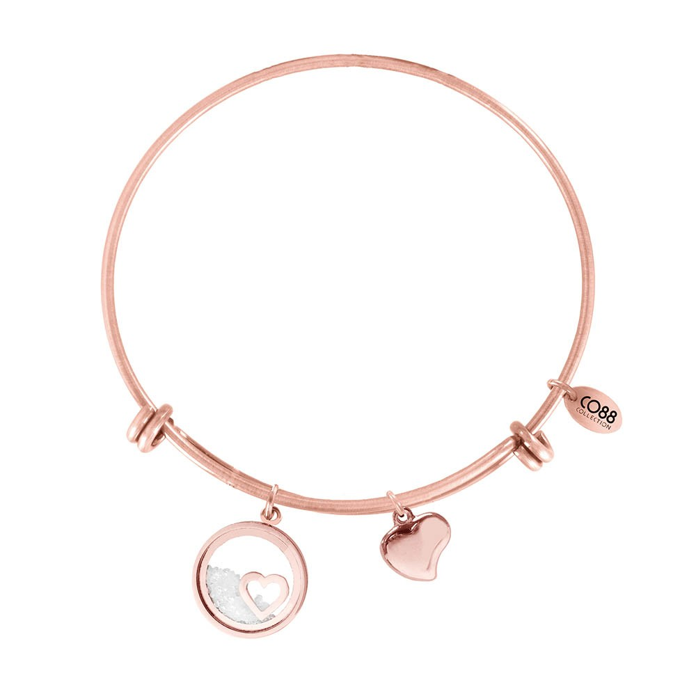 CO88 Collection 8CB-12068 - Stalen bangle met bedel - hart met zirkonia 16 mm - Ø 60 mm - rosékleurig