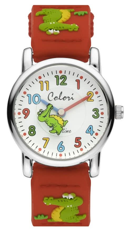 Colori Kinderhorloge Krokodil staal/nylon rood 28 mm 5-CLK064
