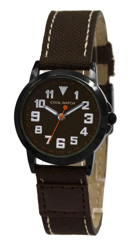 Coolwatch kinderhorloge 'Jort' canvas-staal bruin-zwart CW.247