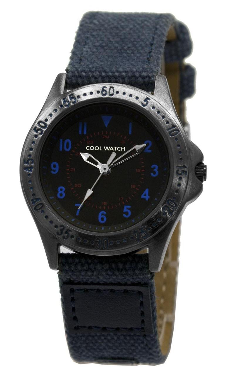 Coolwatch kinderhorloge'Bolk' staal-canvas blauw CW.256