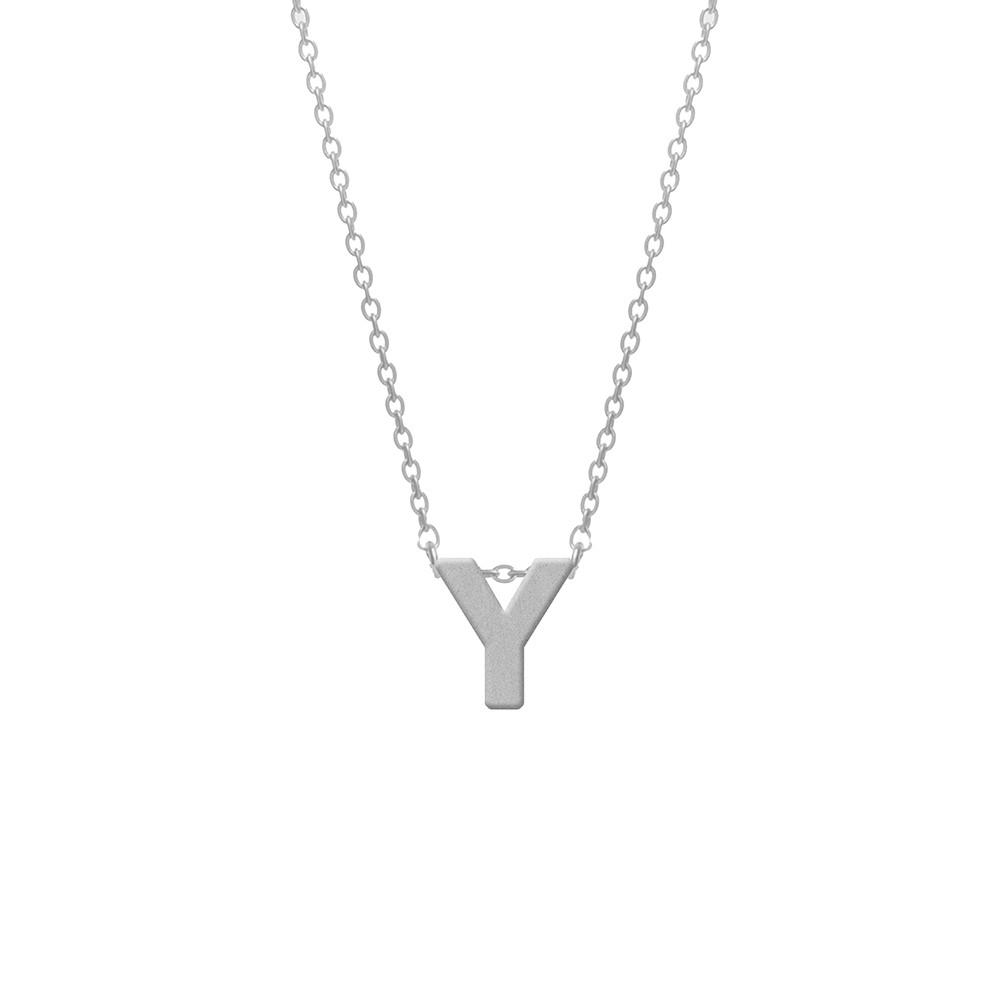 CO88 Collection 8CN-11024 - Stalen collier - letterhanger Y 9 mm - lengte 42+5 cm - zilverkleurig