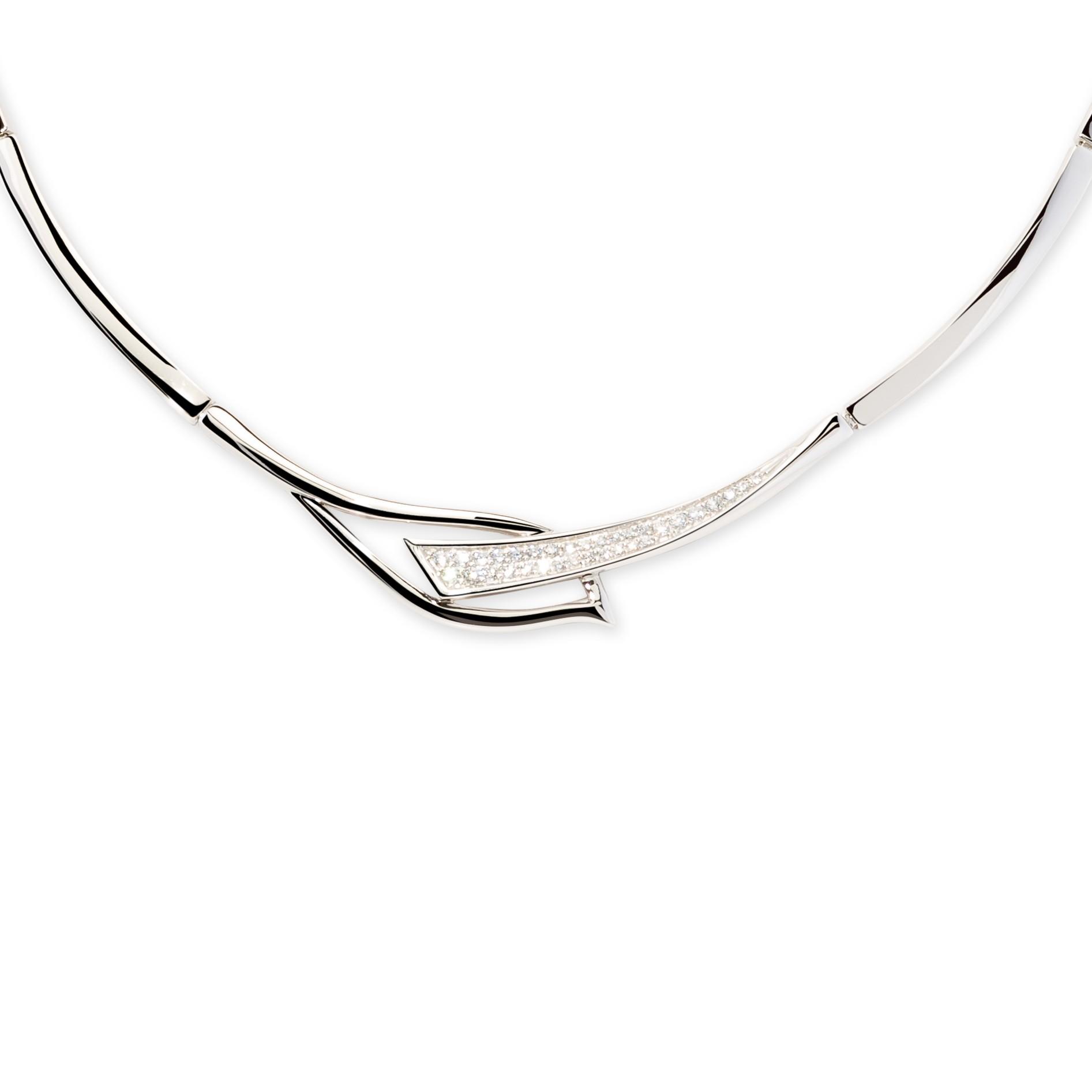 Zilveren ketting choker met zirconia 42-46 cm 103.1038.42