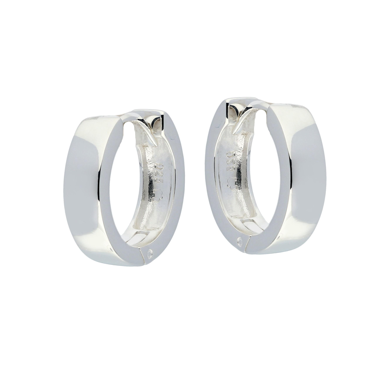 Zilveren klapcreolen - vierkante buis 4 mm  107.0074.16