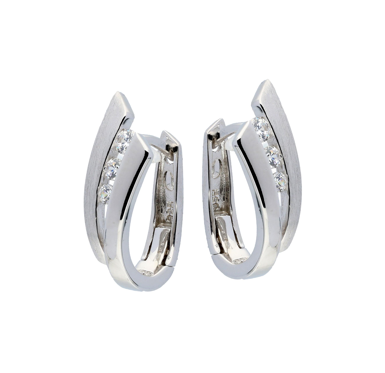 Zilveren Oorbellen klapcreolen met zirconia 107.6154.00