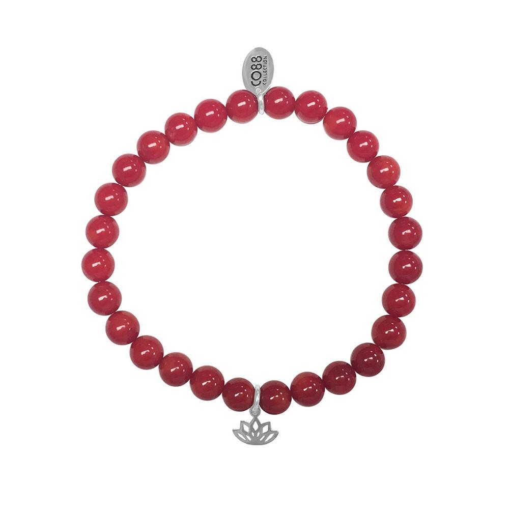 CO88 Collection 8CB-17044 - Rekarmband met staal element - natuursteen Rode zee bamboe 6 mm - lotus bedel - one-size - rood / zilverkleurig