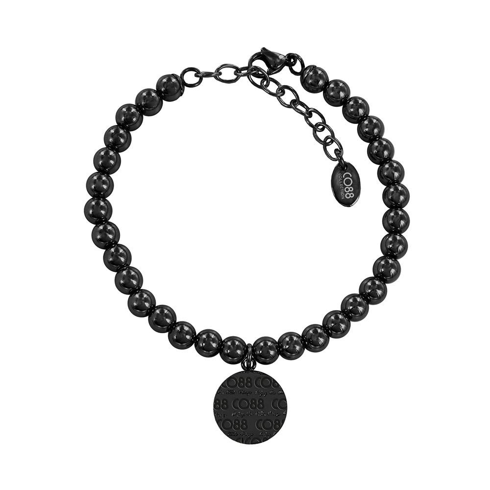 CO88 Collection 8CB-14021 - Armband met bedel - staal 6 mm - CO88 logo - lengte 17 + 5 cm - zwart