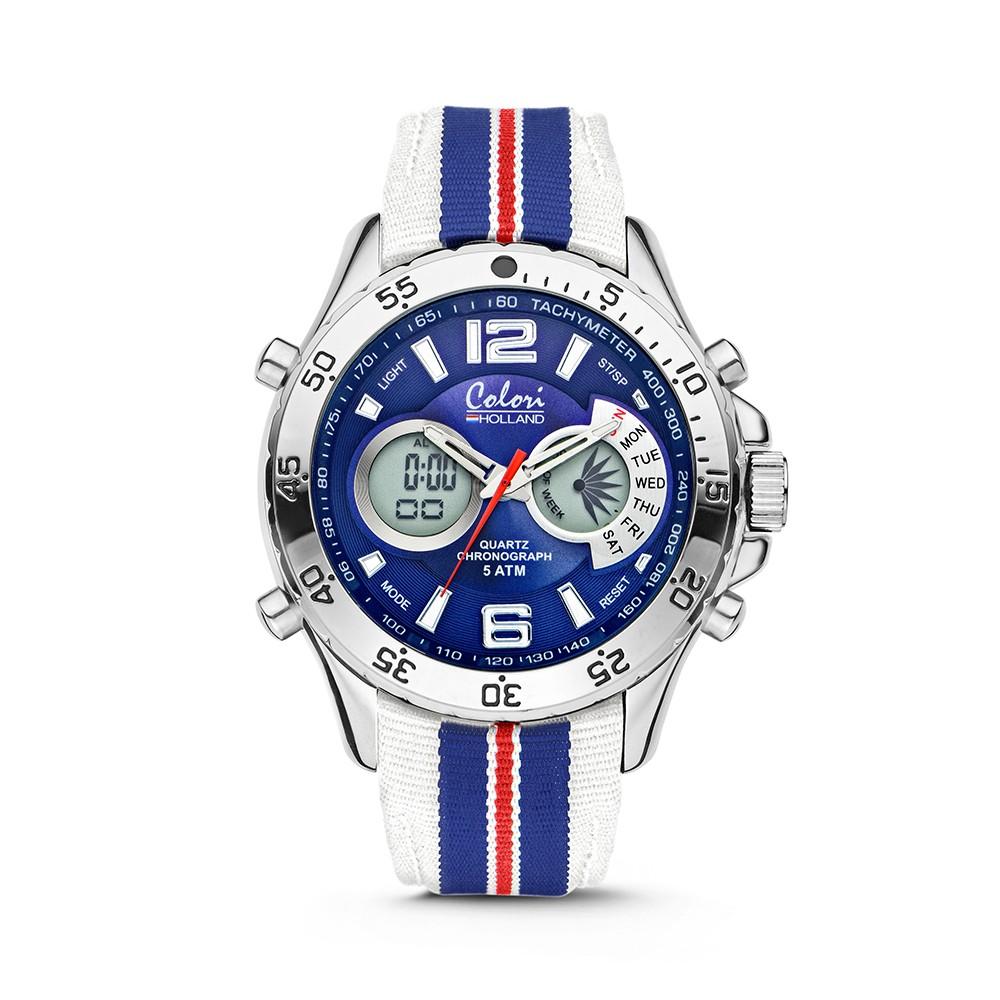Colori Holland Sports 5-CLD132 - Horloge - nylon band - blauw/wit/rood - 48 mm