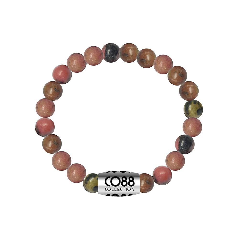 CO88 Collection 8CB-17029 - Armband met bead - Rhodonite natuursteen 8 mm - lengte 16,8 cm - roze /  grijs