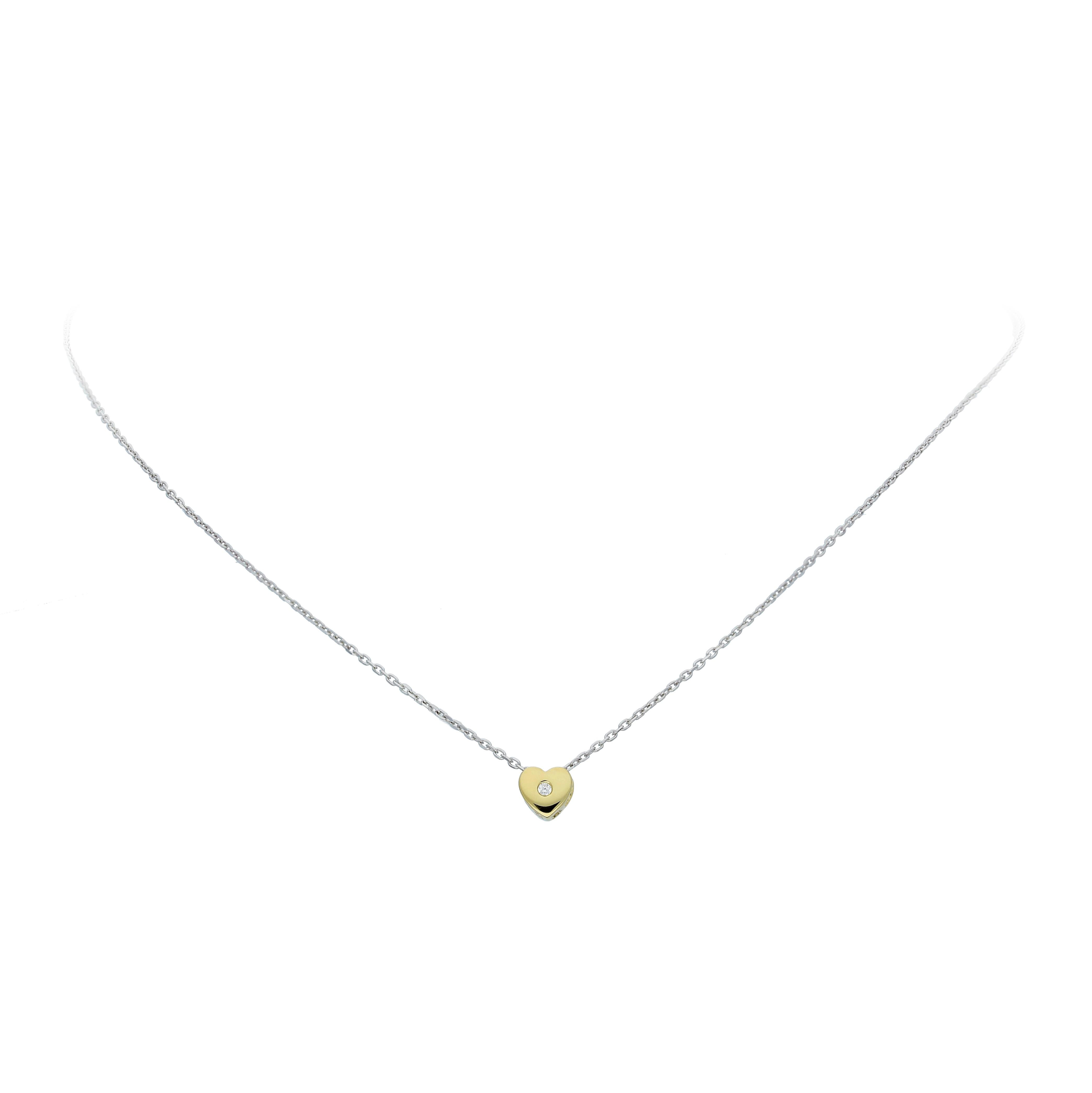 Glow Gouden Collier Met Hanger - 42 Cm Hart Zirkonia Ankerschakel 202.5019.42