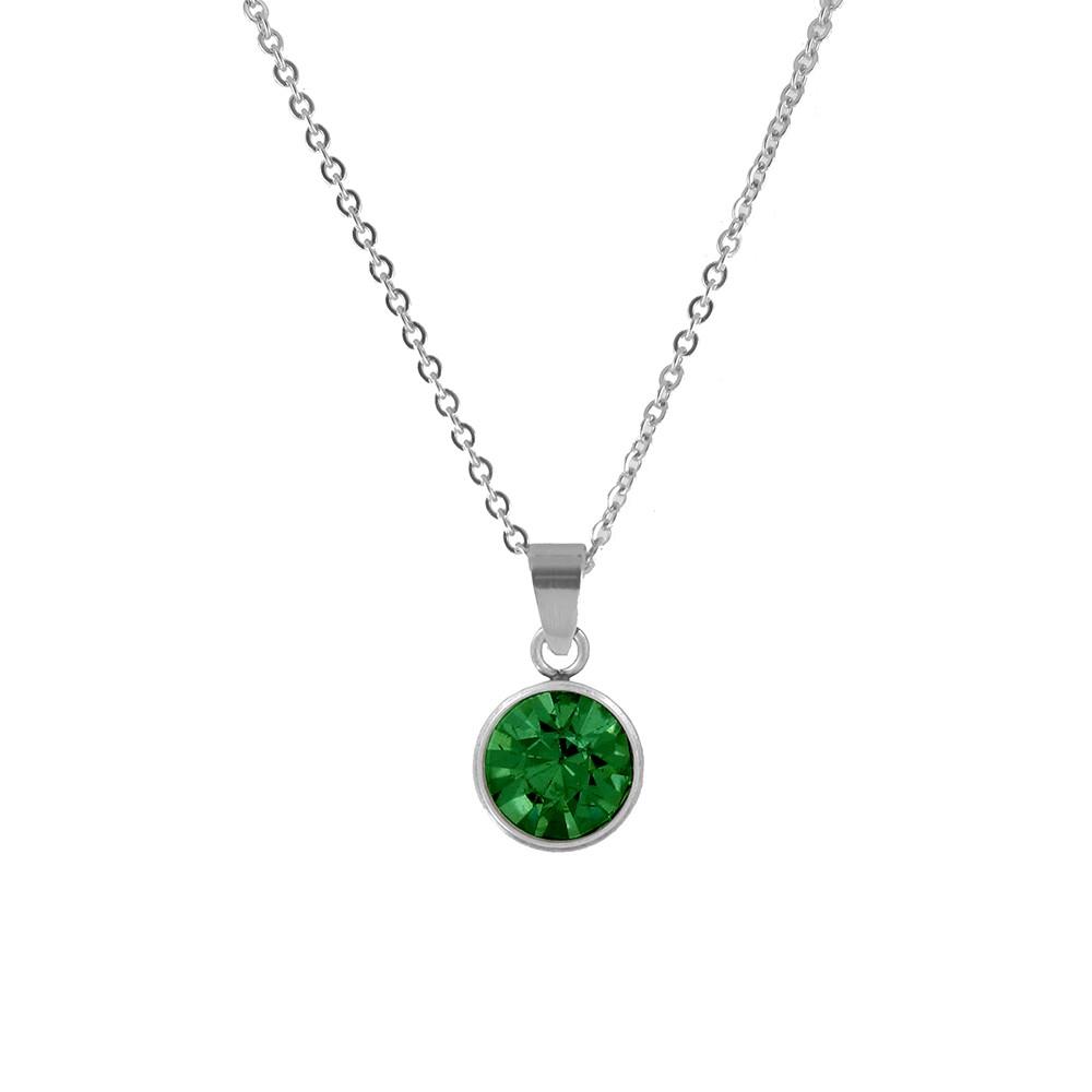 CO88 Collection 8CN-10014 - Stalen collier met geboortesteen mei | smaragd 10 mm - lengte 42 + 5 cm - groen / zilverkleurig