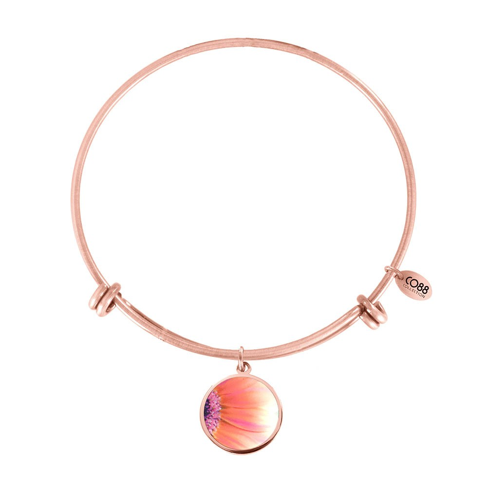 CO88 Collection 8CB-11033 - Stalen bangle met bedel - gerbera 20 mm - Ø 60 mm - rosékleurig