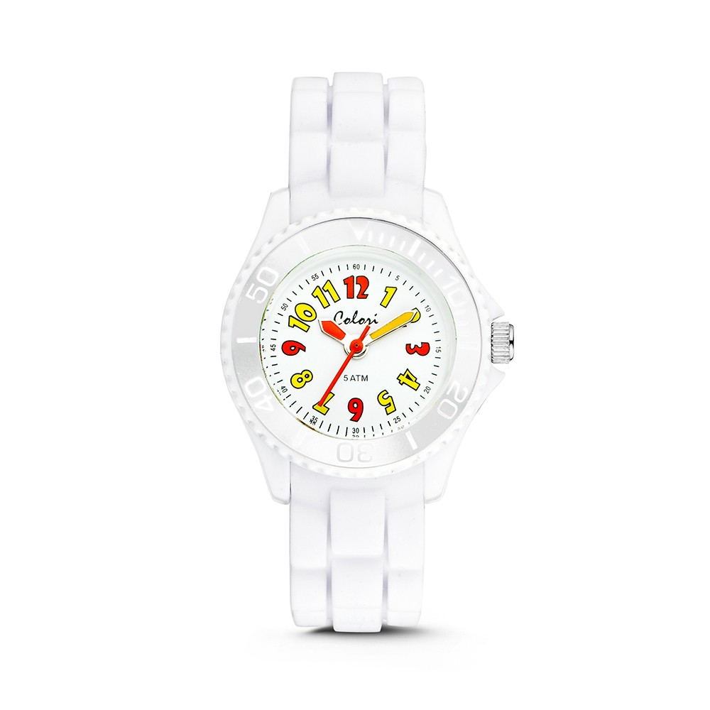 Colori Kidz 5-CLK018 Kinderhorloge siliconen band wit 30 mm