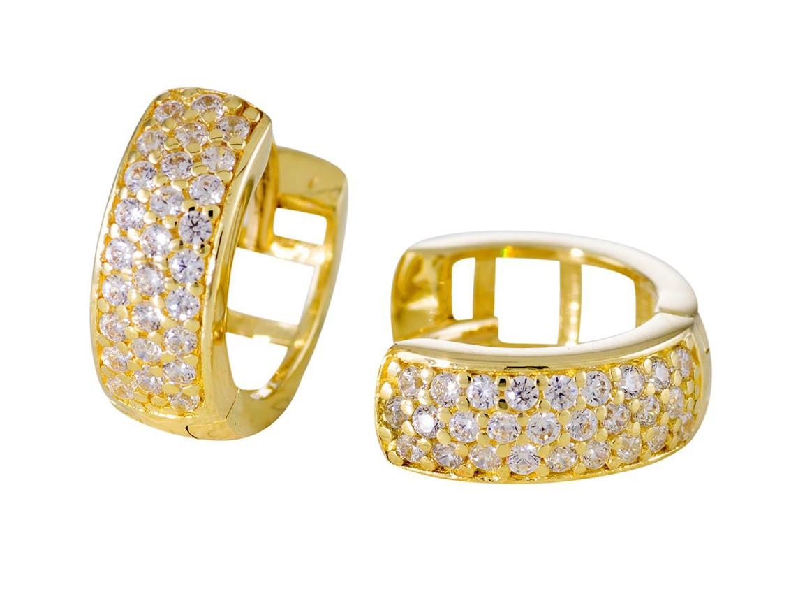 Gouden klapcreolen gold collection Glanzend - zirkonia - 11 mm 207.0147.11