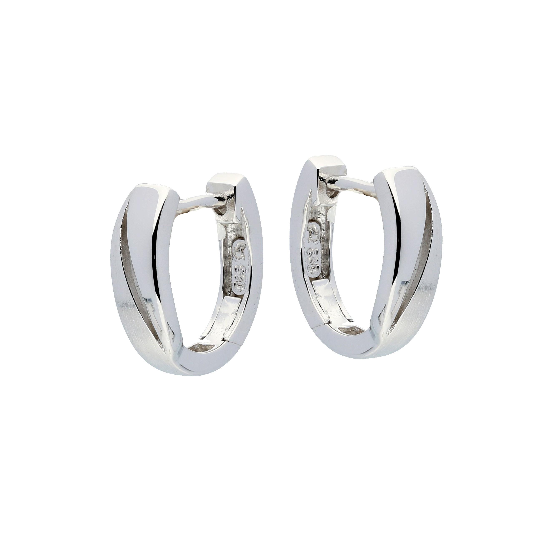 Zilveren klapcreolen - mat glanzend  107.6301.00