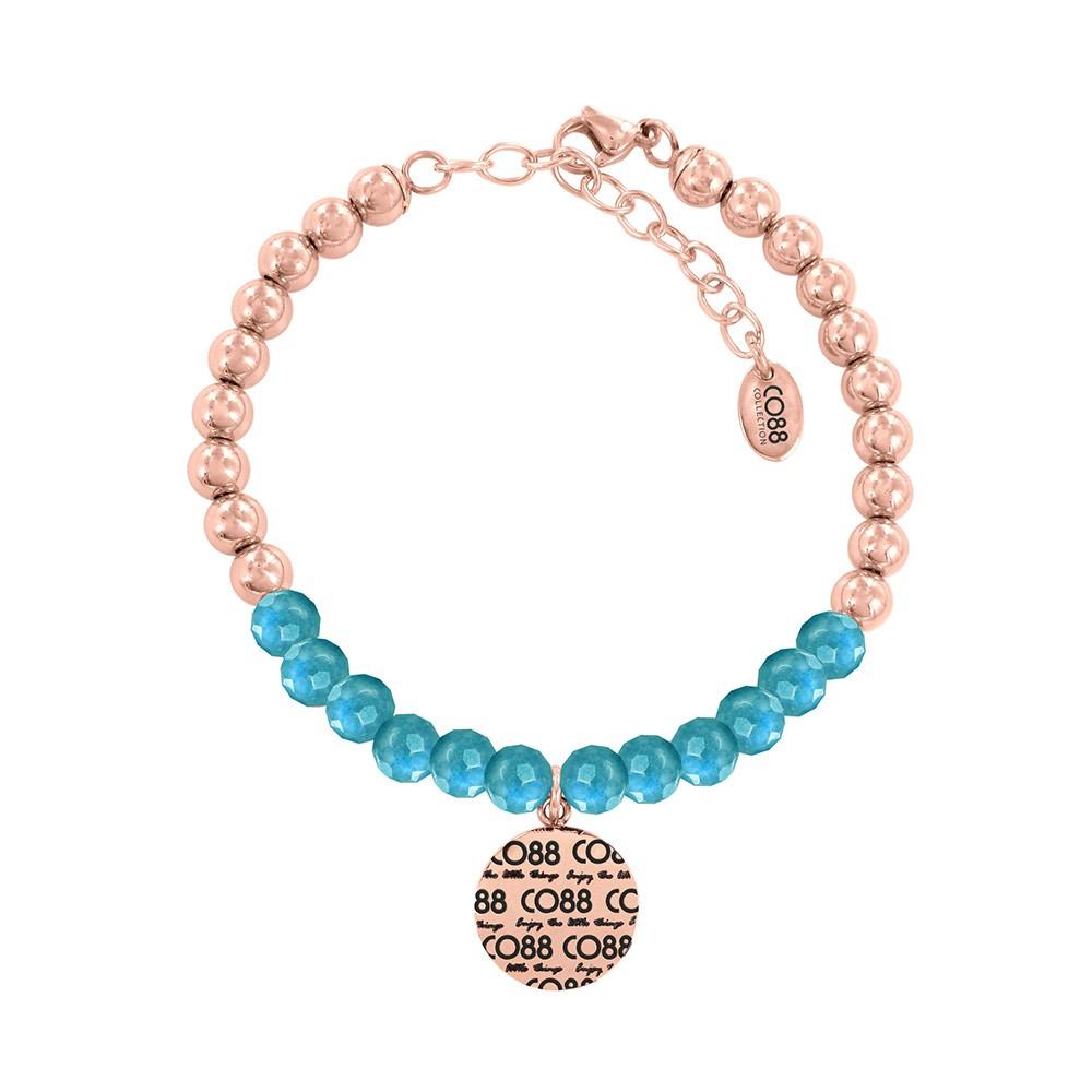 CO88 Collection 8CB-14011 - Armband met bedel - stalen en Jade natuursteen 6 mm - CO88 logo - lengte 17 + 5 cm - blauw / rosékleurig