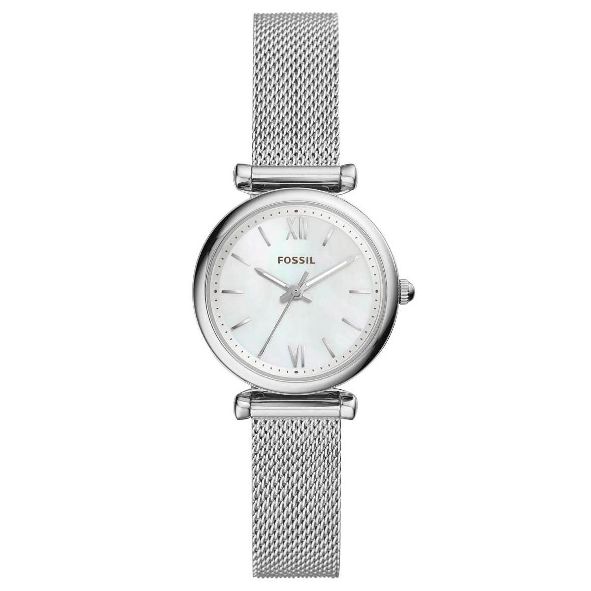 Fossil ES4432 Horloge Carlie staal zilverkleurig 28 mm