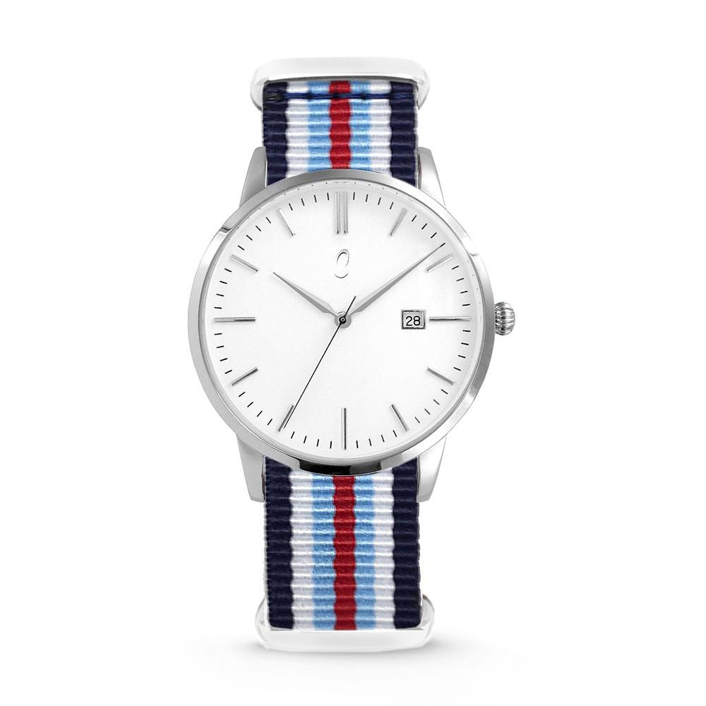 Colori Nato Connaisseur 5-COL496 - Horloge - nato - blauw/ wit/ rood - ø 40 mm