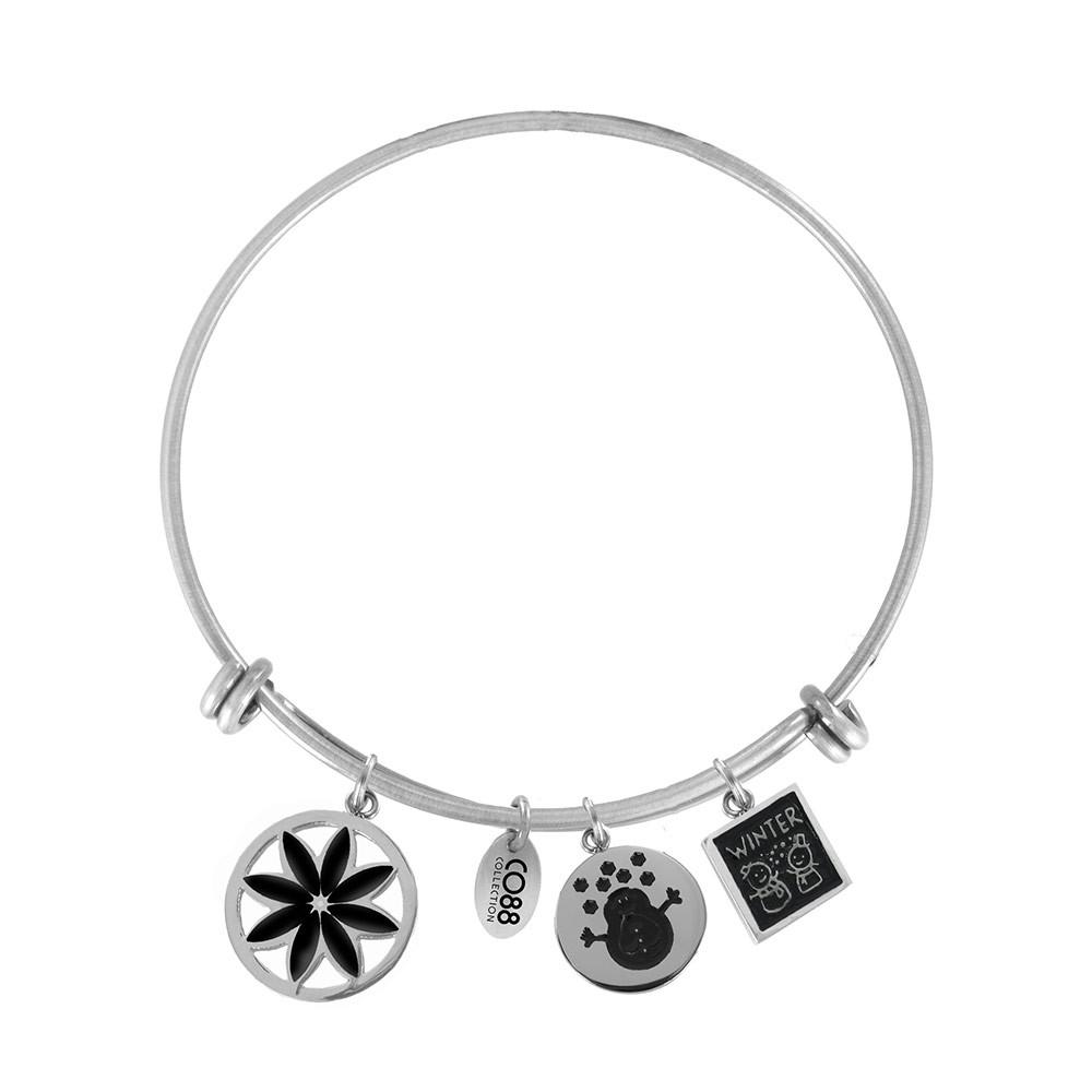 CO88 Collection 8CB-16006 - Stalen bangle met bedels - bloem, sneeuwpop en winter - one-size - zilverkleurig / zwart