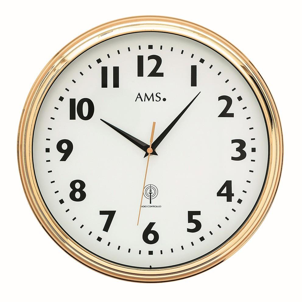 AMS 5963 Wandklok zendergestuurd Messing 32 cm rond