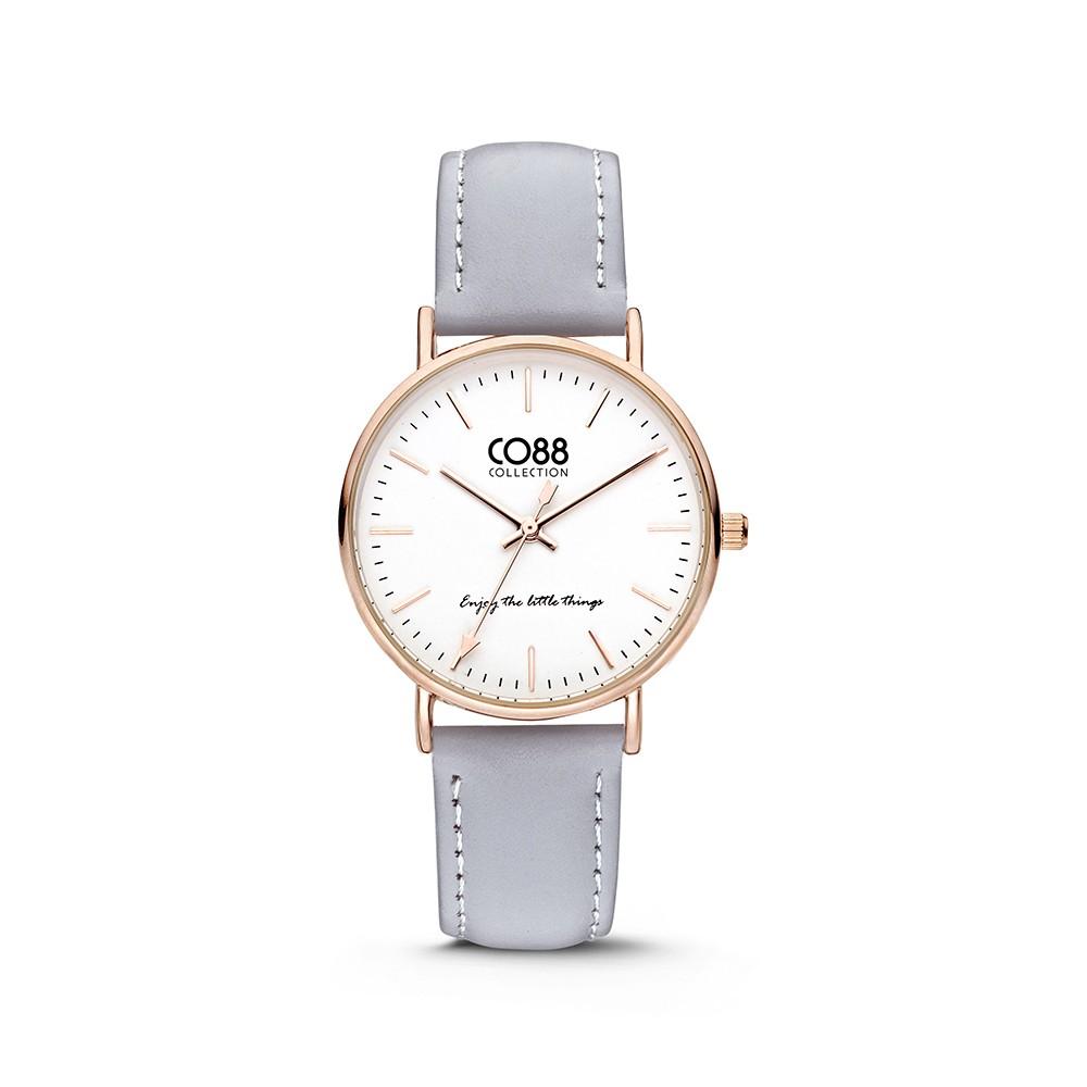 CO88 Collection 8CW-10003 - Horloge - Leer - licht blauw - 36 mm