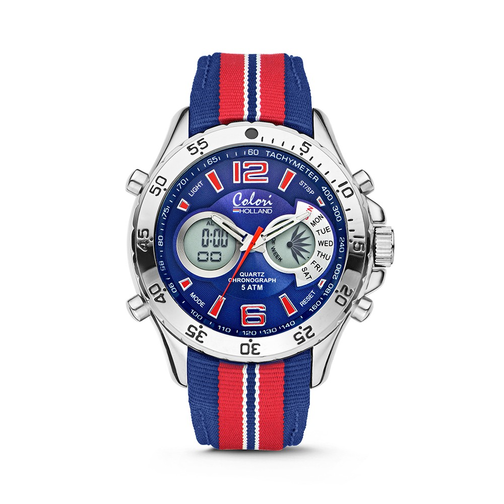Colori Holland Sports 5-CLD135 - Horloge - nylon band - rood/blauw - 48 mm