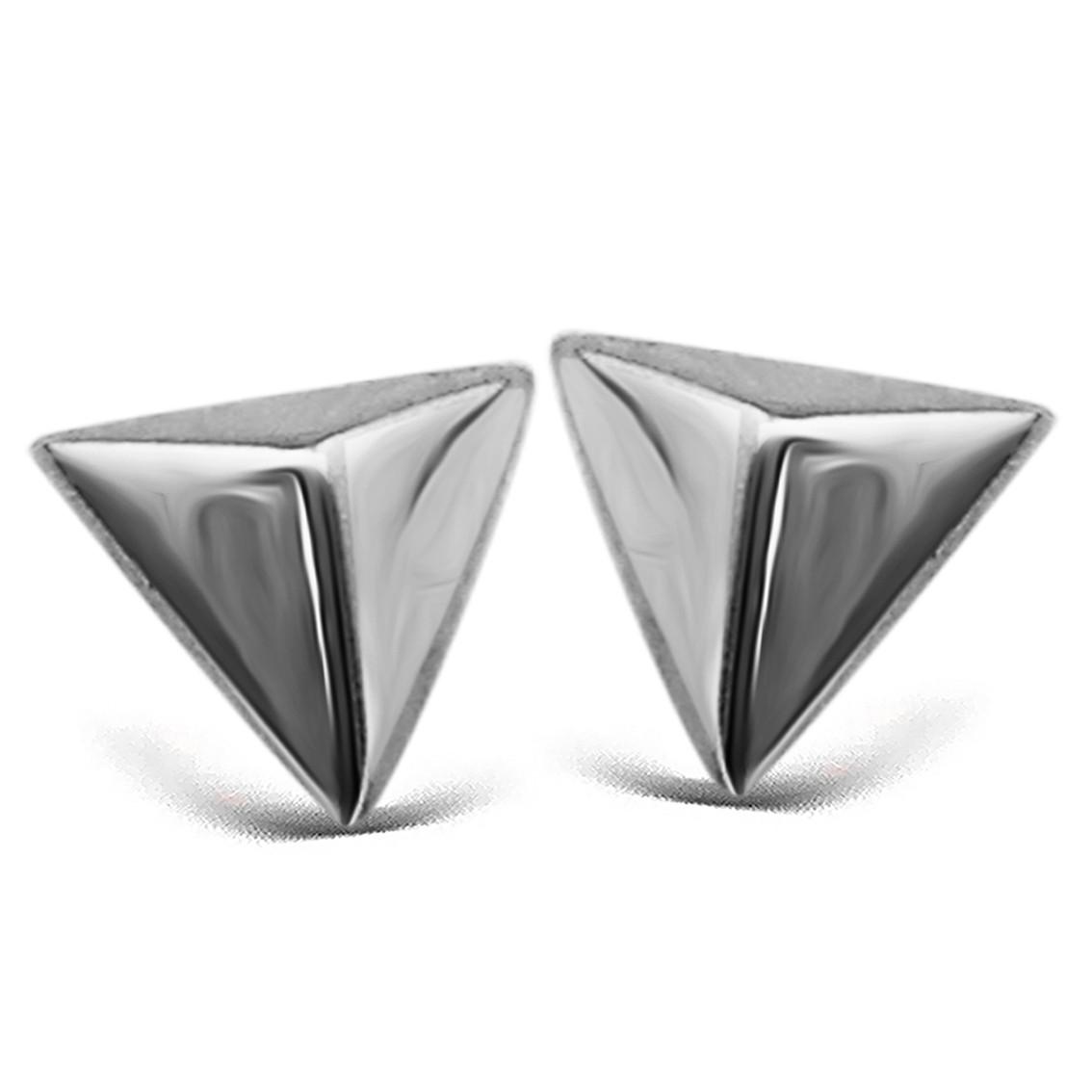 JWLS4U JE001S Oorbellen Pyramide 3 D zilver