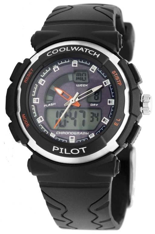 Coolwatch kinderhorloge jongens 'Pilot' digitaal zwart CW.271