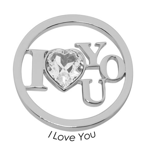 Quoins Disk I Love You staal zilverkleurig Large QMOK-28L-E-CC