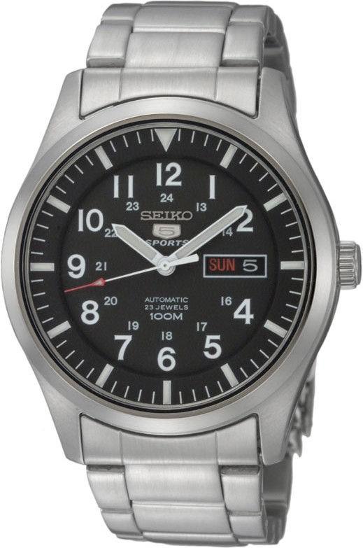 Seiko SNZG13K1 Horloge automaat staal zilverkleurig-zwart 45 mm