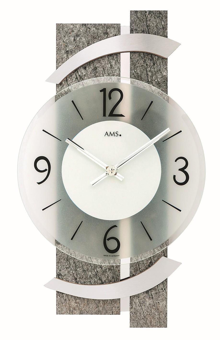 AMS 9548 Wandklok Natuursteen-Aluminium