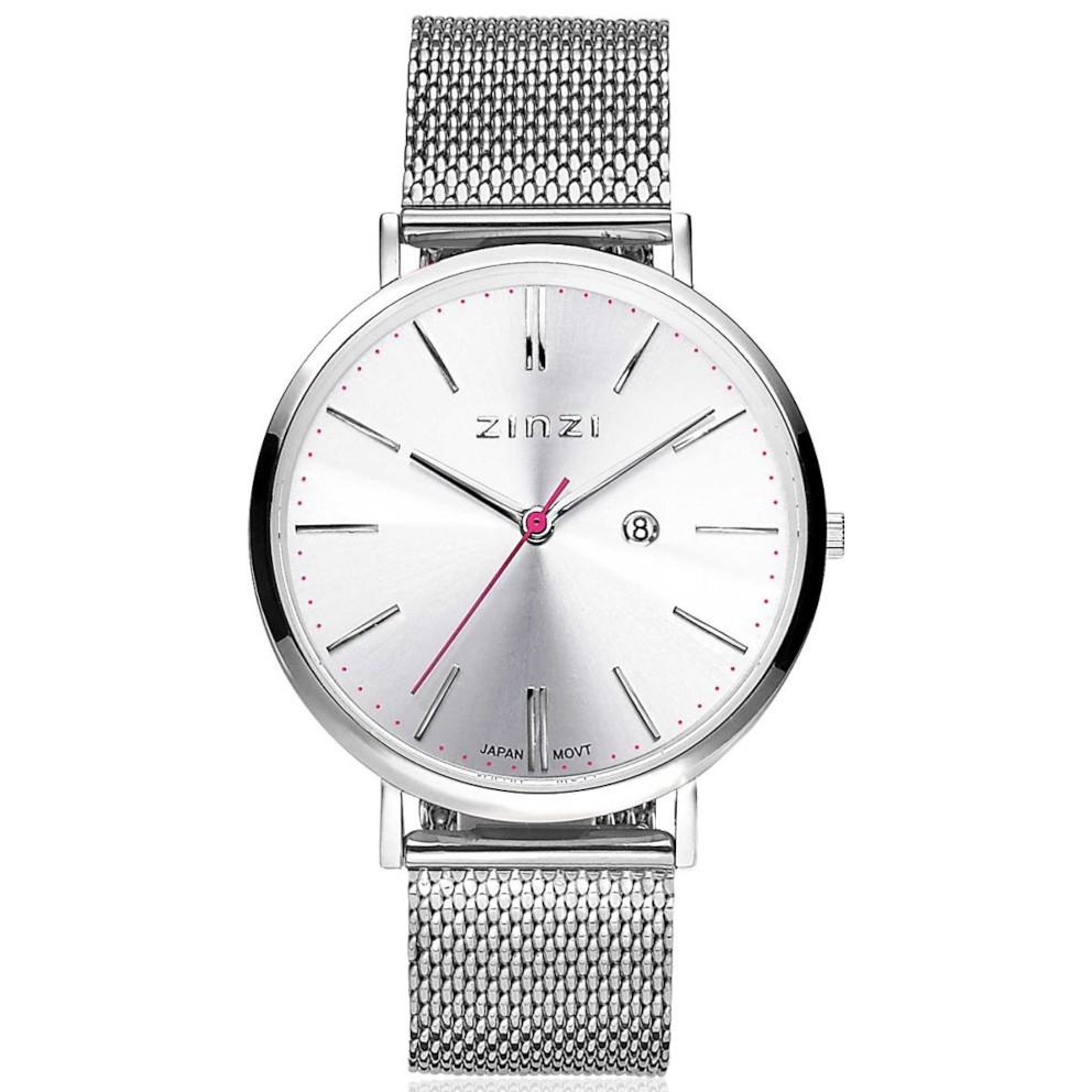 Zinzi ZIW402M Horloge Retro staal zilverkleurig + gratis armband 38 mm
