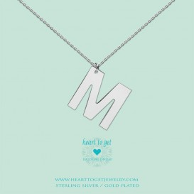 Heart to get LB154INM16S Big Initial letter M including necklace (40 + 8cm) silver