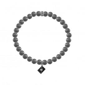 Kaliber 7KB-0017M - Heren armband met stalen elementen - pokerkaart A - Hematiet natuursteen 6 mm - maat M (18 cm) - zilverkleurig