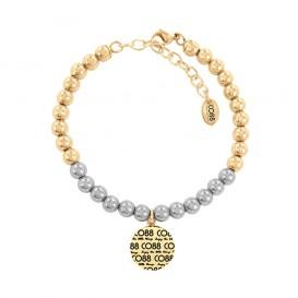 CO88 Collection 8CB-14013 - Armband met bedel - stalen en Jade natuursteen 6 mm - CO88 logo - lengte 17 + 5 cm - zilverkleurig / goudkleurig