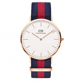 Daniel Wellington Horloge Classic Oxford staal/nato rosekleurig-blauw-rood DW00100001