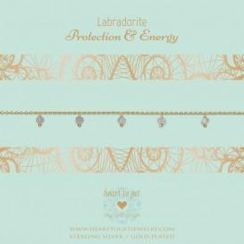 Heart To Get Armband zilver/labradorite Prosperity and Luck goudkleurig-groen B340DGL16G