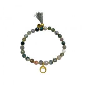 CO88 Collection 8CB-40018 - Rekarmand met bedels - Agaat natuursteen 6 mm - appel en kwast - one-size - multi / groen / goudkleurig