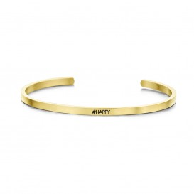 Key Moments 8KM-B00164 Stalen open bangle met tekst #happy zirkonia one-size goudkleurig